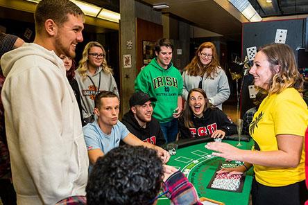 students having fun during casino night