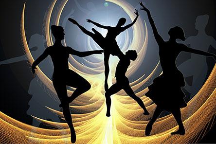 Abstract figures dancing