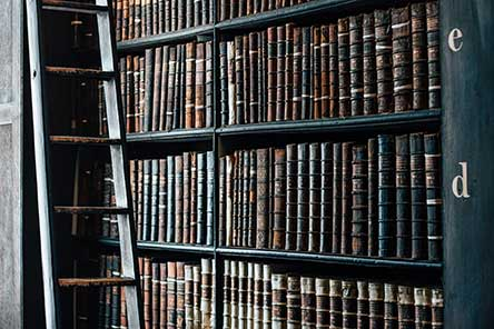 Bookshelves of antique books