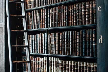 Bookshelves of antique books