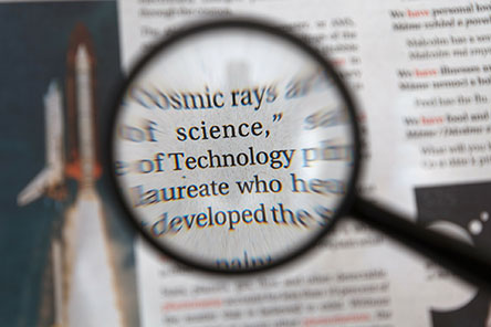 A magnifying glass over some text