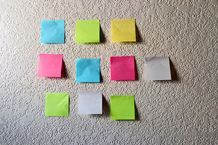 different colored sticky notes