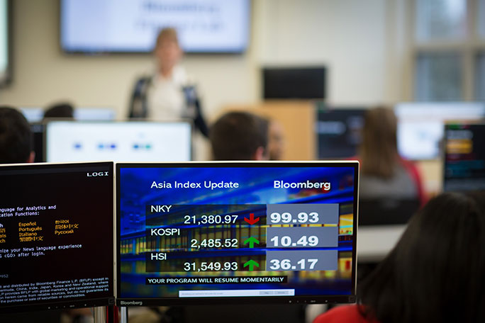 A Bloomberg Terminal showing  market indicators