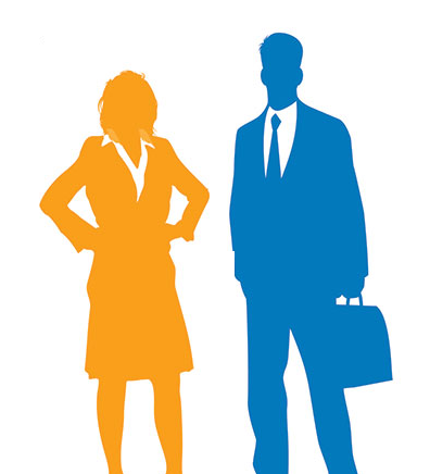 Illustration of a man and women in business attire