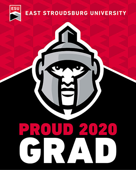 "The words ""Proud 2020 Grad"" with the Warrior Mascot head"