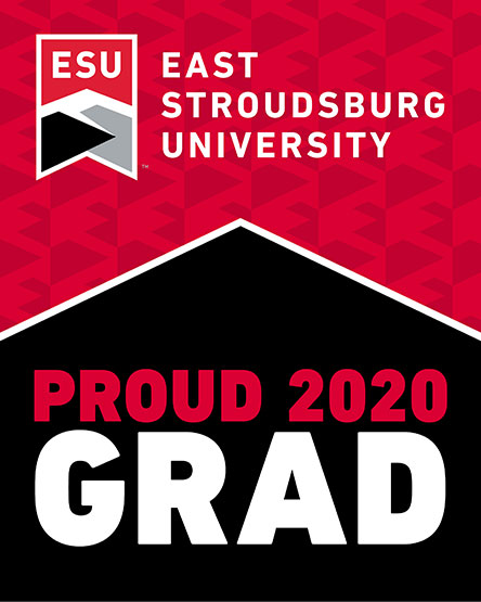 "The words ""Proud 2020 Grad"" with a mountaintop design"