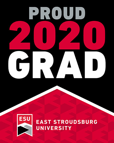 "The words ""Proud 2020 Grad"" with a small mountaintop design"