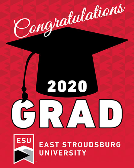 "The words ""Congratulations 2020 Grad"" with a mortarboard cap and a red design"