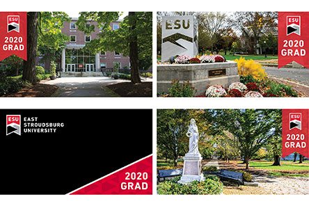 "Collage of four zoom bakcgrounds all saying ""2020 Grad"""