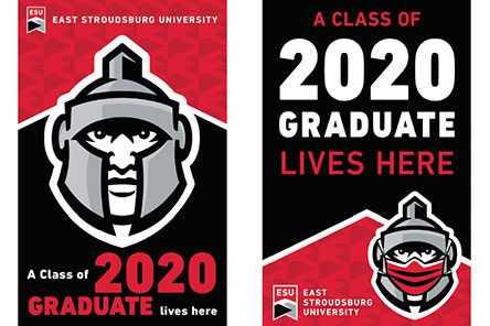 "Two posters with the Warrior mascot head reading ""A class of 2020 Graduate lives here"""