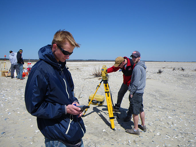 Students using GIS equipment