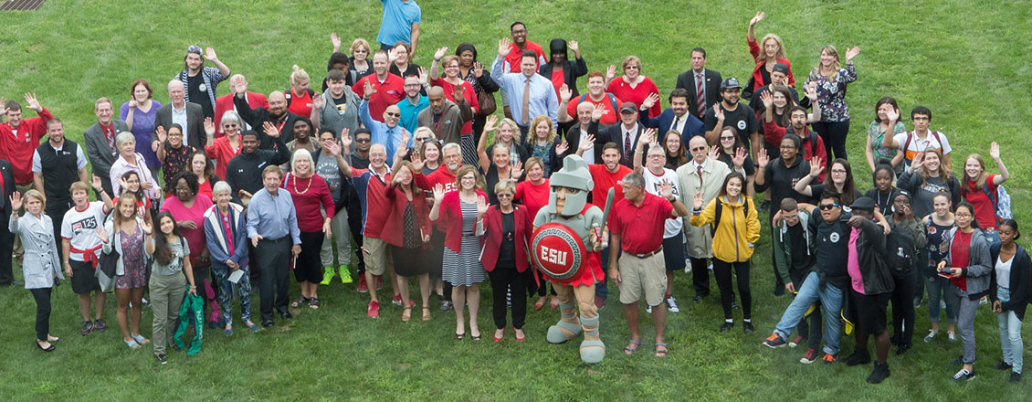 Faculty, staff, and students on the Sci Tech lawn