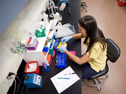 Student working in a science lab