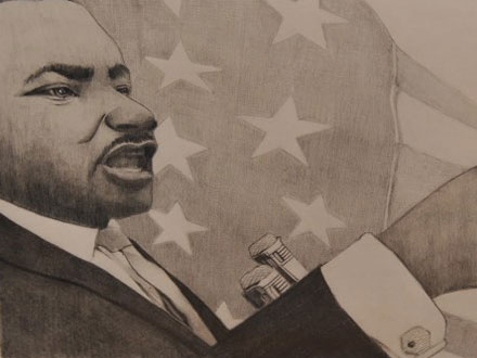 Picture of Martin Luther King and the American flag.