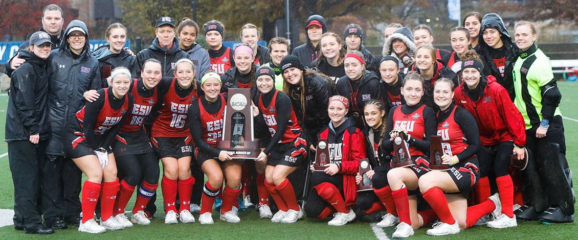 ESU field hockey poses with the NCAA DII runner-up trophy following Saturday's title game.