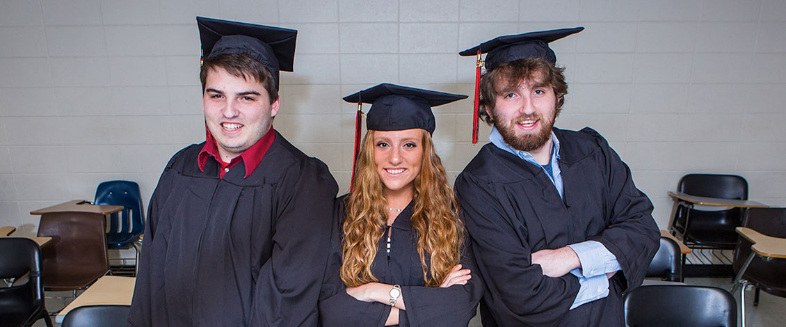 Joshua Pope, Madison Pope and Michael Pope prepare for graduation from East Stroudsburg University.