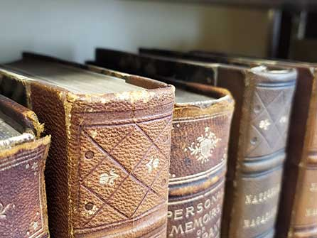 old leather-bound books on the shelf