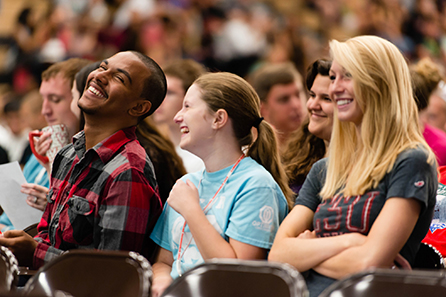Student laughing during orientation