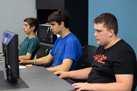 students sitting in computer lab