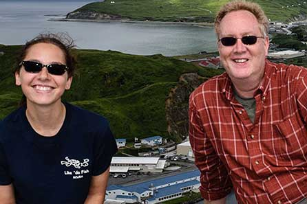 Biology Professor and Student posing for picture while studying abroad