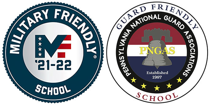 Military Friendly School '21-22 seal and Guard Friendly School seal