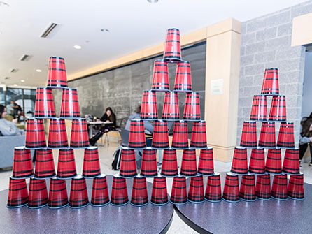 Pyramids of plastic cups
