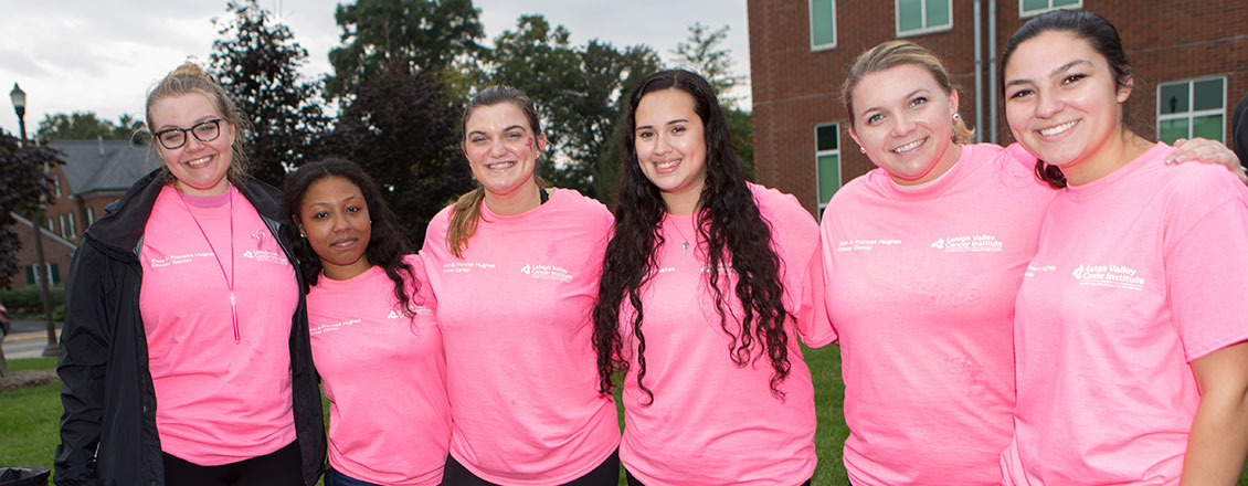 Wellness Education and Prevention students and staff at the Pink Light Walk